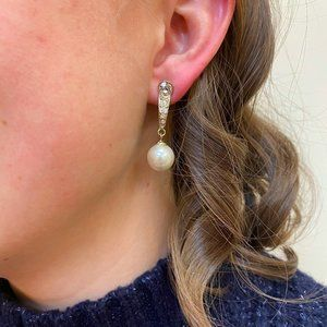 Gold Rhinstone Pearl Drop Earrings